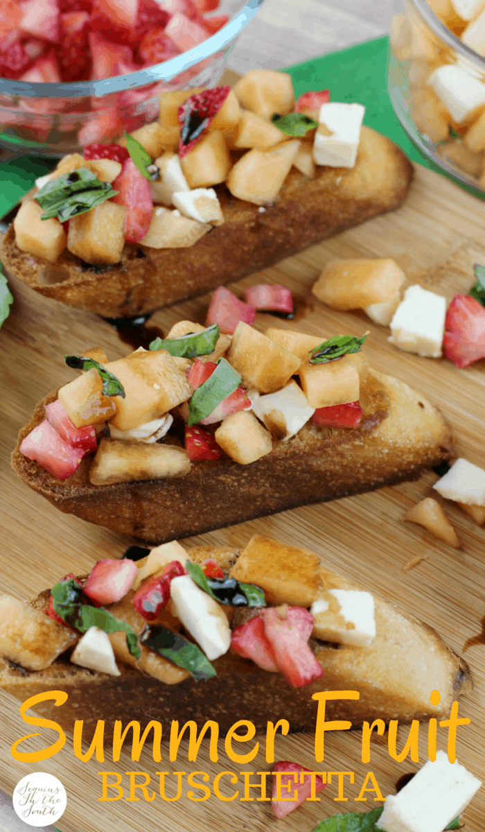 Fruit Bruschetta is pure perfection for summer. Strawberry, cantalope goes amazing with this treat