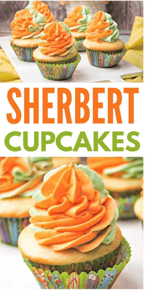 photo collage of orange and green swirled icing on vanilla cupcakes with text which reads sherbert cupcakes
