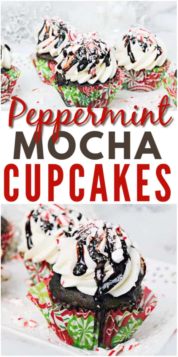 photo collage of chocolate cupcakes topped with peppermint with text which reads peppermint cupcakes