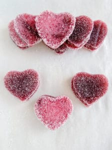 valentine heart gummies on parchment paper