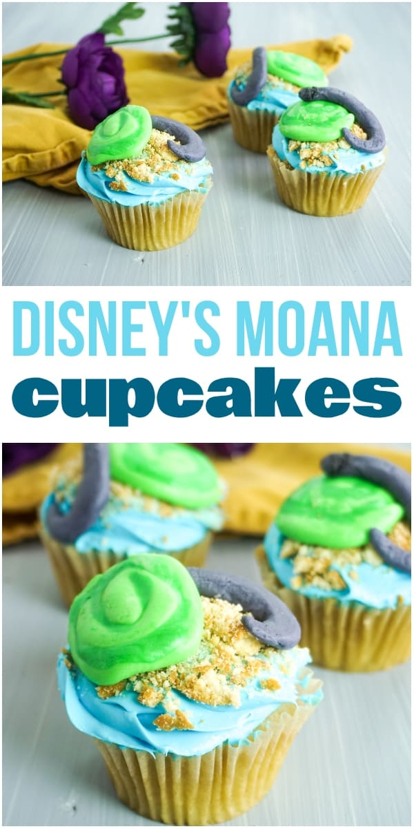 photo collage of moana cupcakes decorated to look like the Heart of Te Fiti with green, blue and gray frosting on a grey background with yellow linen and purple flower in the background with title text reading Disney's Moana Cupcakes