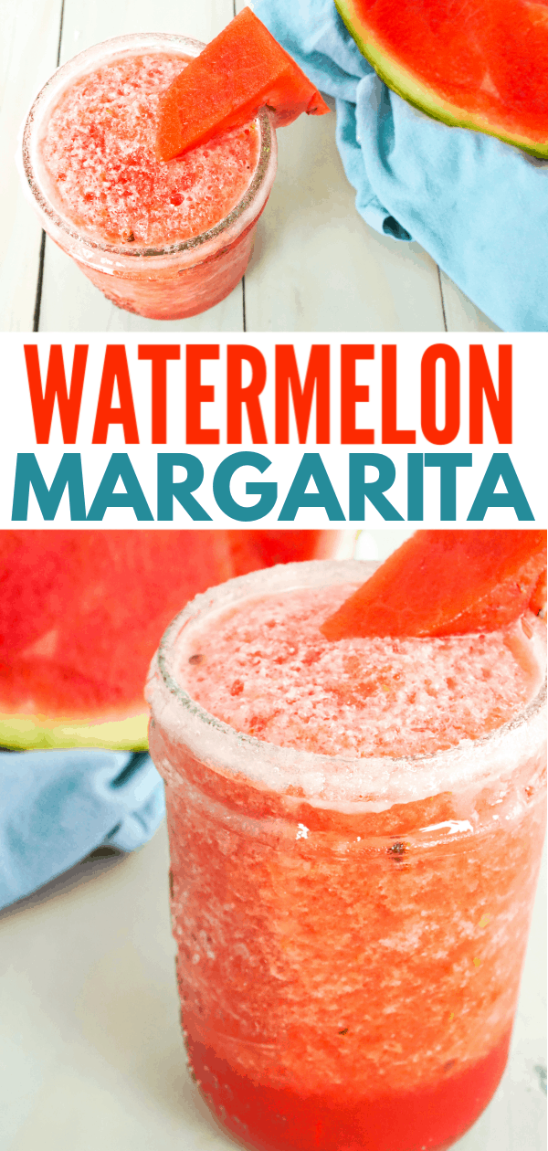 collage of Close up of watermelon margarita in mason jar glass with watermelon wedge garnish on rim and slice of watermelon in background on blue dish towel with title text reading Watermelon Margarita