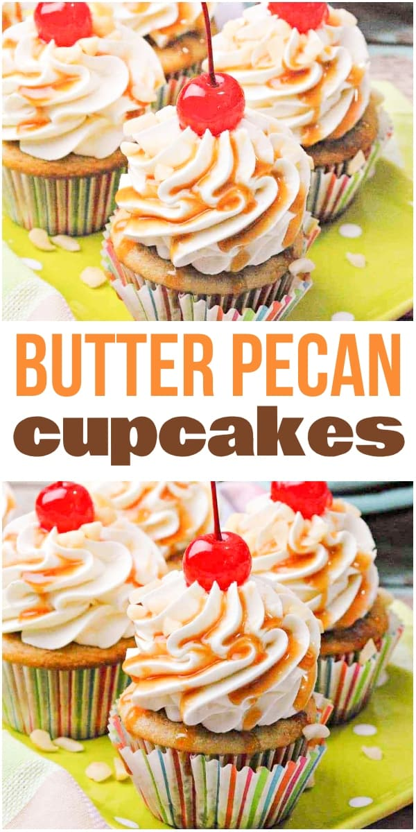 photo collage of buttered pecan cupcakes with text which reads butter pecan cupcakes