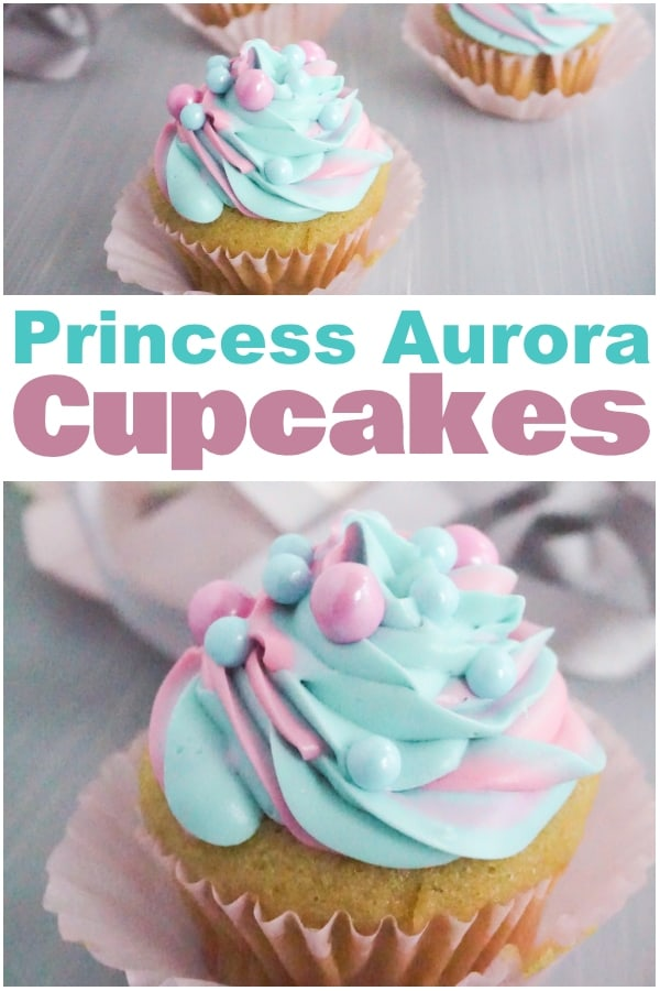 photo collage of pink and blue swirled cupcakes with text which reads princess aurora cupcakes