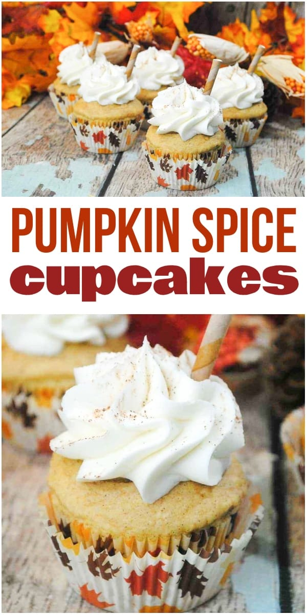 a collage of Pumpkin Spice Latte Cupcakes on a wood table with leaves in the background with title text reading Pumpkin Spice Cupcakes