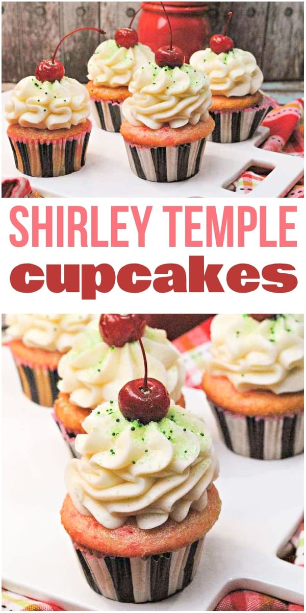 photo collage of cherry cupcakes with text which reads shirley temple cupcakes