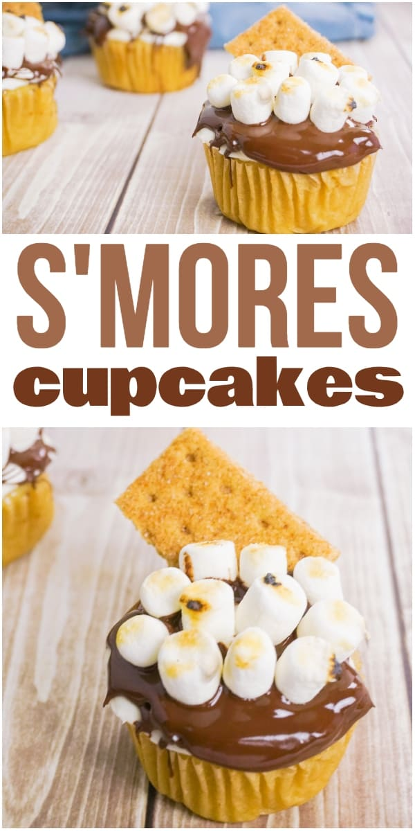 photo collage of three cupcakes frosted with chocolate frosting topped with marshmallows and a graham cracker on a wood background with a muffin tin and blue linen in the background with title text reading S'mores Cupcakes