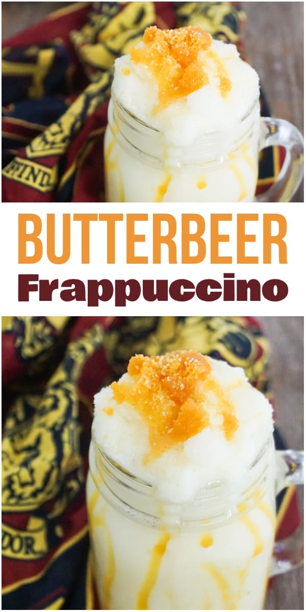 photo collage of frappuccino with butterbeer flavoring in a glass mug on a wood background with gryffindor linen with title text reading Butterbeer Frappuccino
