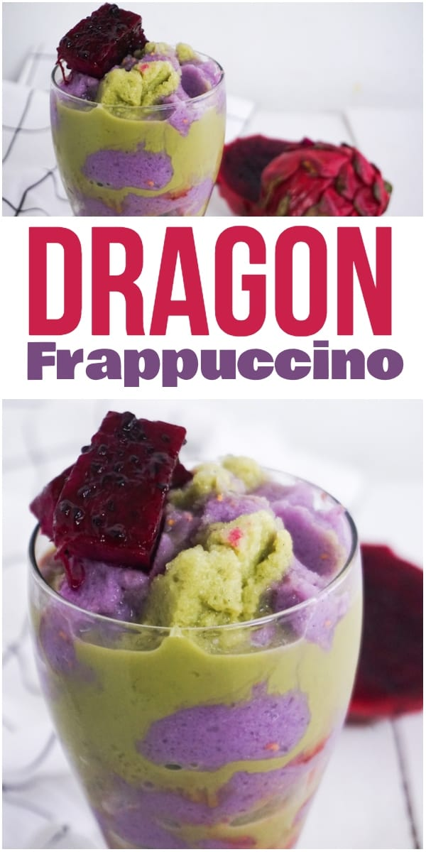 photo collage of raspberry and machta green tea dragon frappuccino with strawberry syrup on a white wood table with dragon fruit in the background with title text reading Dragon Frappuccino