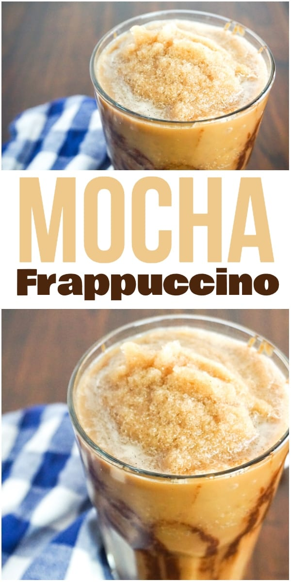 photo collage of mocha frappuccino in a glass on a brown wood background next to a blue and white checkered linen with title text which reads mocha frappuccino