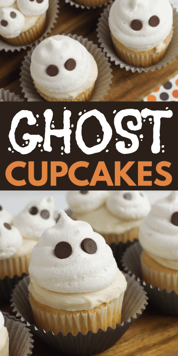 a collage of cupcakes topped with vanilla frosting and a meringue cookie with chocolate chips in it so it looks like a ghost with eyes, all on a wood slat with title text reading Ghost Cupcakes