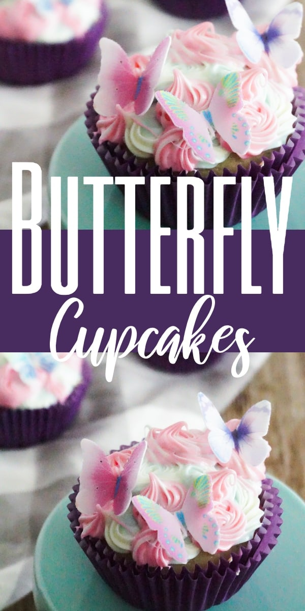 a collage of a cupcake with pink and green frosting with edible butterflies on top, on a green cake stand on a brown table with two more cupcakes in the background on a linen with title text reading Butterfly Cupcakes