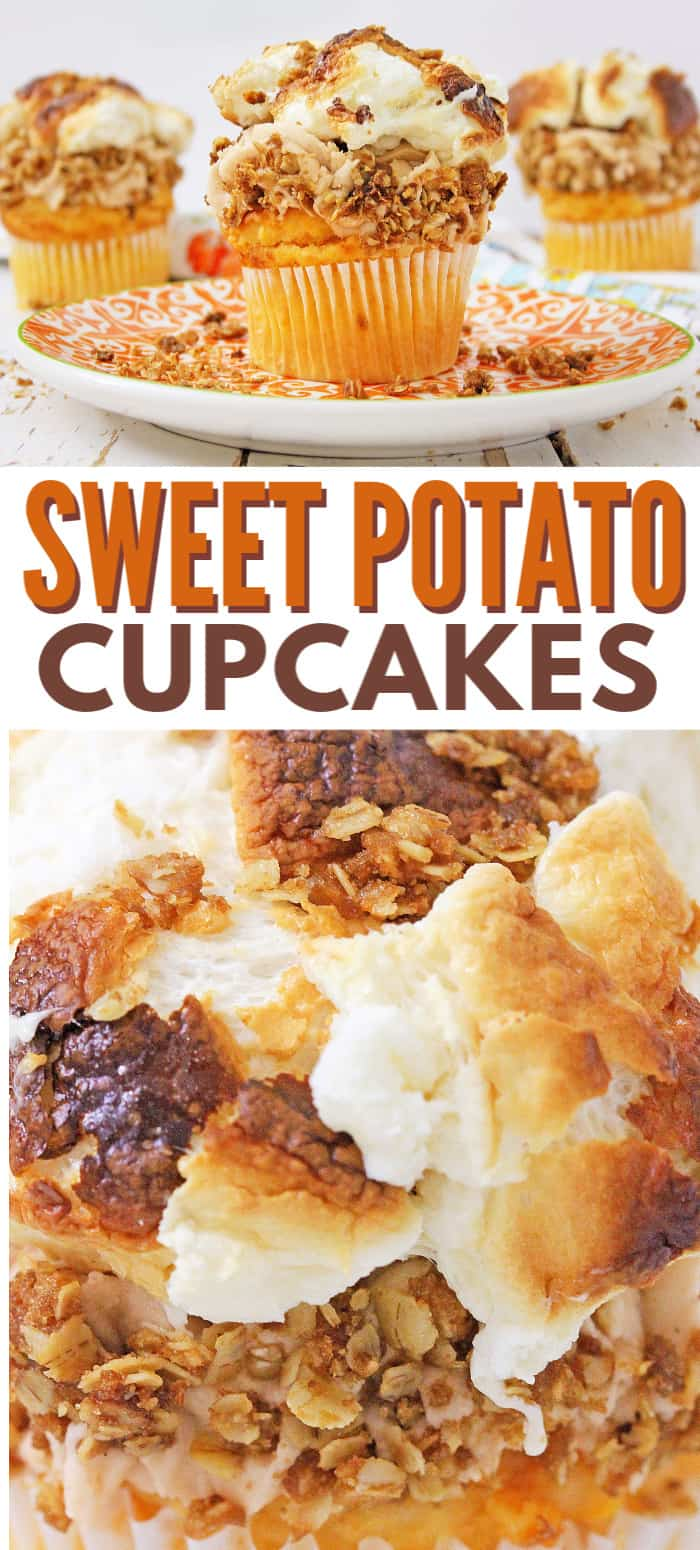 a collage of sweet potato cupcakes topped with frosting, crumble topping and marshmallows seen from the top or on a plate with title text reading Sweet Potato Cupcakes