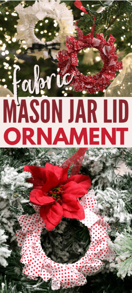 a collage of red and white fabric mason jar lid ornaments on a Christmas tree with title text reading Fabric Mason Jar Lid Ornament