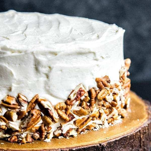 hummingbird cake on a brown plate