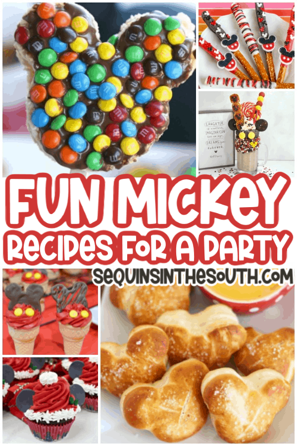 mickey mouse recipes collage with title text reading Fun Micky Recipes for a Party