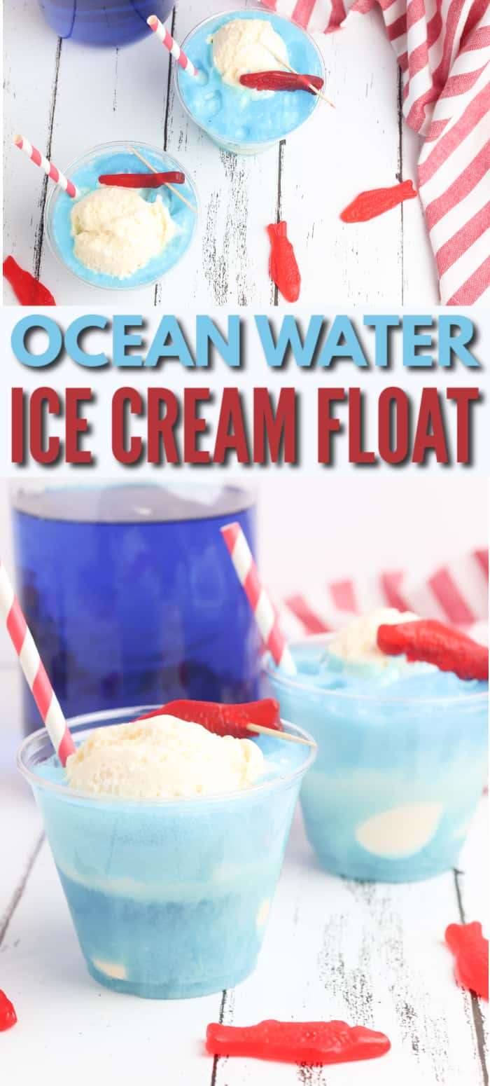 a collage of two glasses of Ocean Water Ice Cream Float on a white table next to a glass jar of lime juice colored blue and a red and white striped cloth with title text reading Ocean Water Ice Cream Float