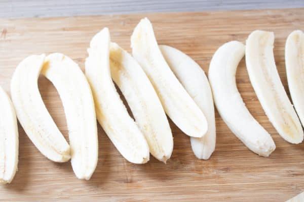bananas sliced in half