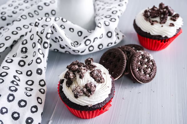 cookies & cream cupcakes on a grey table