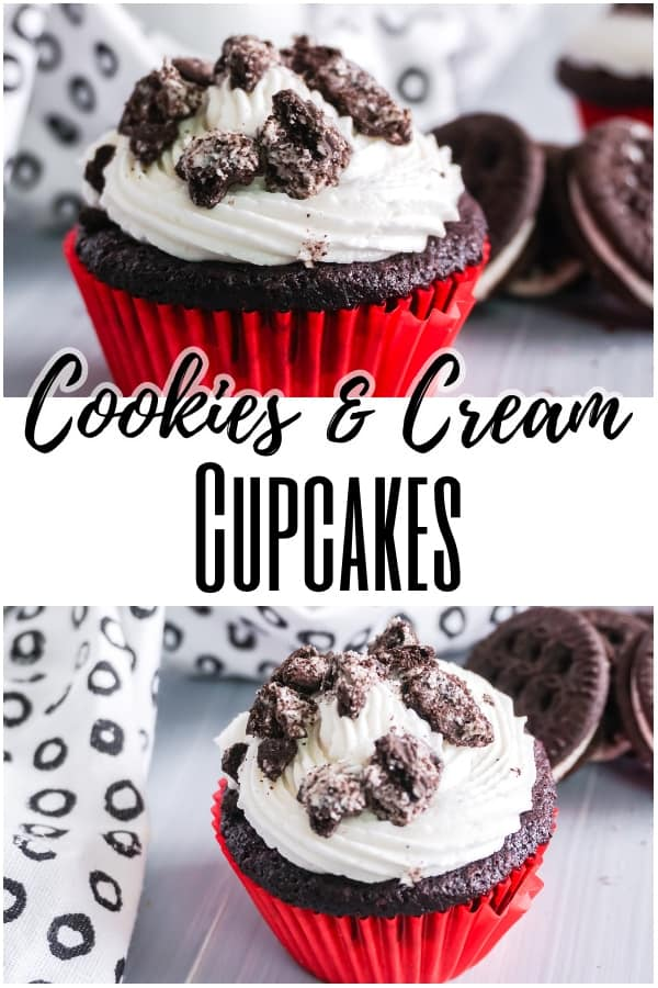 a collage of cookies and cream cupcake next to a black and white cloth on a gray wood table next to some cookies with title text reading Cookies & Cream Cupcakes