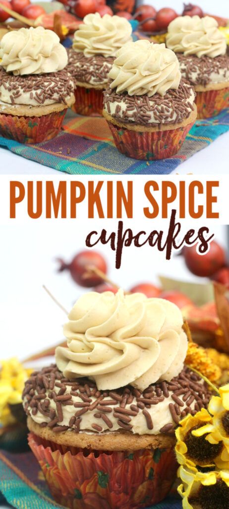 a collage of Pumpkin Spice Cupcakes with Buttercream Frosting Recipe and chocolate sprinkles on a multi-colored checkered cloth with title text reading Pumpkin Spice Cupcakes