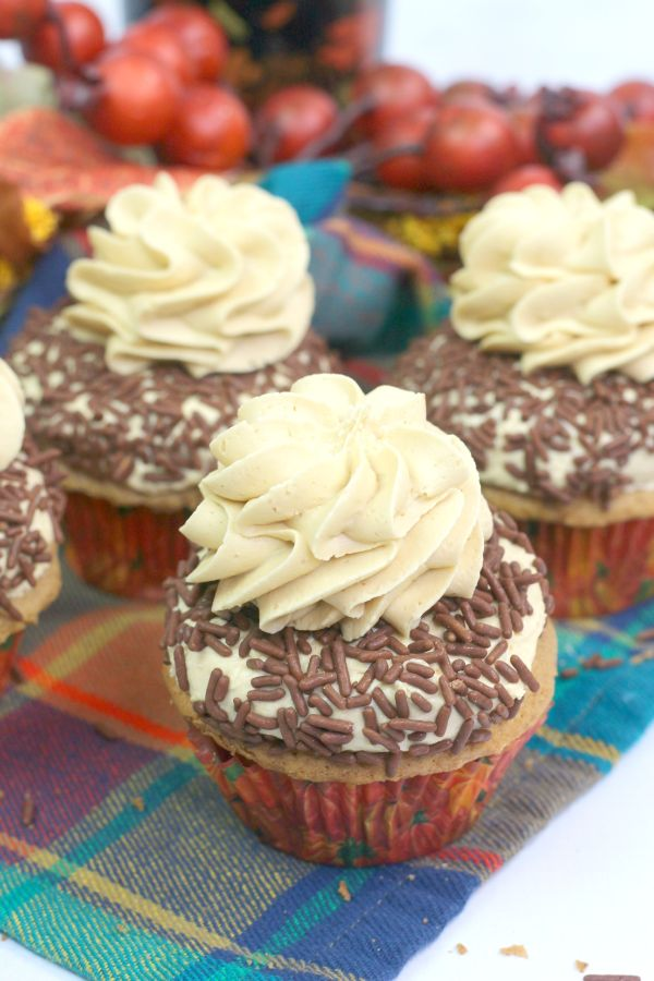 Pumpkin Spice Cupcakes with Buttercream Frosting Recipe and chocolate sprinkles on a multi-colored checkered cloth